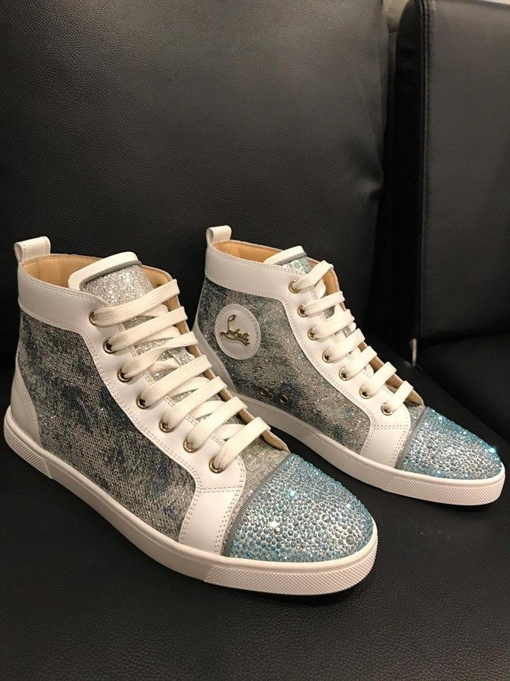 huge discount 1cc03 77cae Christian Louboutin Blue Bip Bip Strass Flat Glitter Hightop Sneaker  Sneakers Size US 10.5 Regular (M, B) 49% off retail