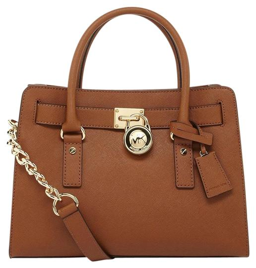 Preload https://img-static.tradesy.com/item/21744064/michael-kors-hamilton-new-with-tags-luggage-browngold-matching-wallet-and-medium-saffiano-leather-sa-0-1-540-540.jpg