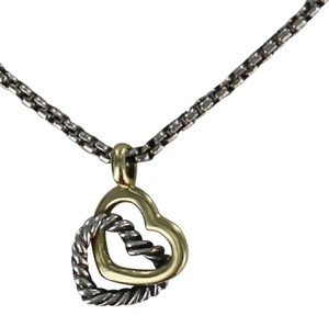 David Yurman David Yurman Double Heart Cable 18K Gold -Sterling Silver Necklace