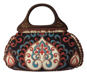 Isabella Fiore Bohemian Leather Embroidered Top Handle Tote in Multi colors with brown tone
