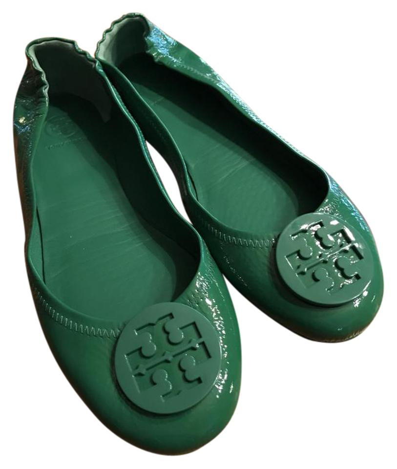 74c5585b0a96 Tory Burch Kelly Green Minnie Travel Ballet Leather Flats Size US 10 ...
