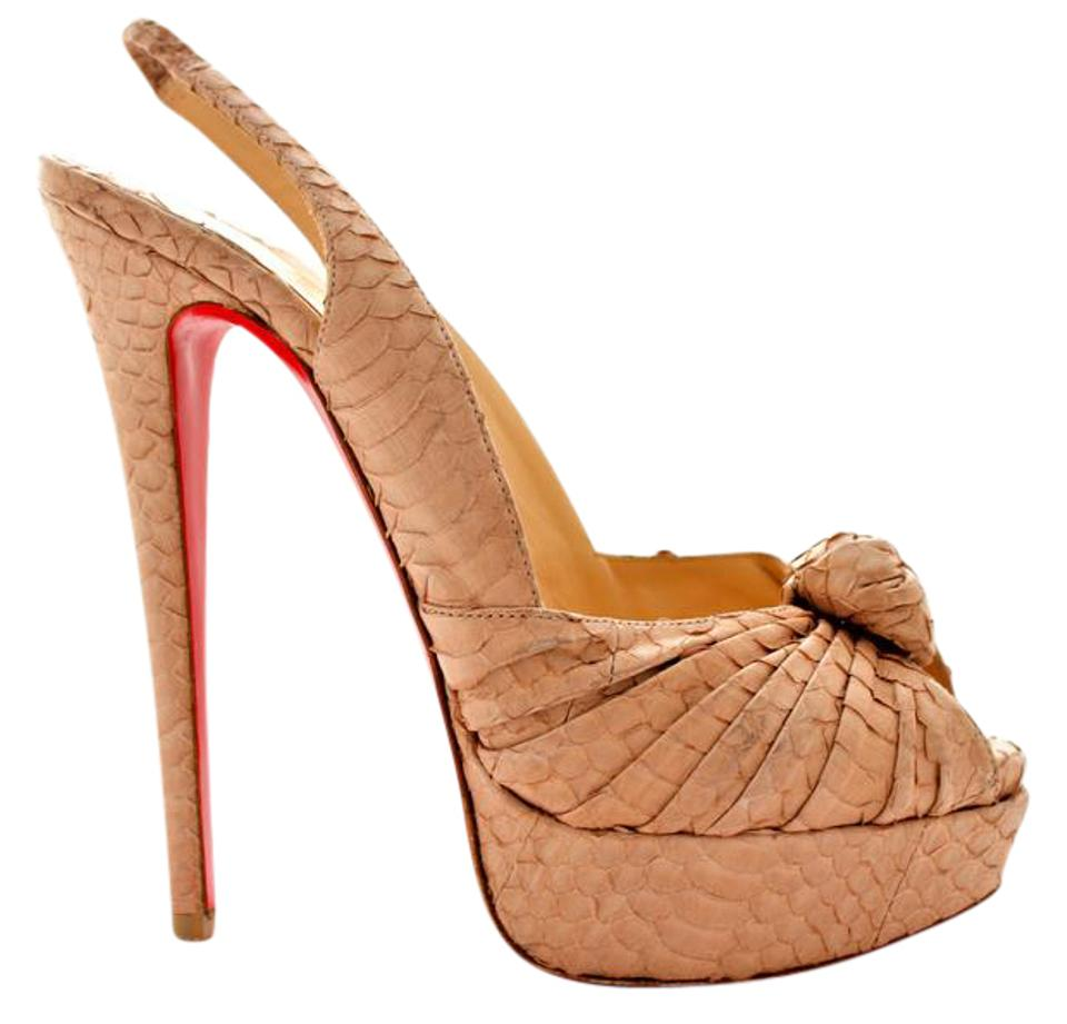 1115bc450bab Christian Louboutin Thigh High Ankle Boots Slingback Beige Sandals Image 0  ...