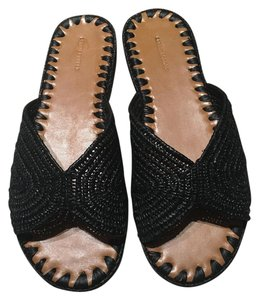 Carrie Forbes Woven Leather Black Sandals