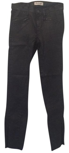 Item - Black Coated Motorcycle Skinny Jeans Size 25 (2, XS)
