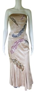 Mandalay Satin Strapless Embroidered Beaded Boned Dress