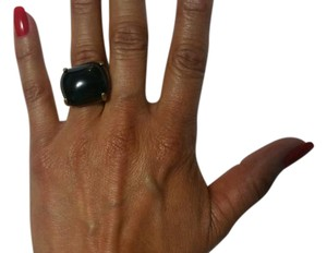Other Black quartz , in gold plated brass ring