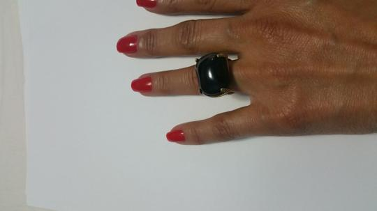 Other Black quartz , in gold plated brass ring Image 1