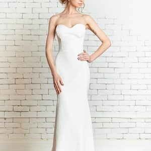 Rebecca Schoneveld Ivory Silk Faille (Silk/Cotton Blend) Elliott Gown Modern Wedding Dress Size 10 (M)