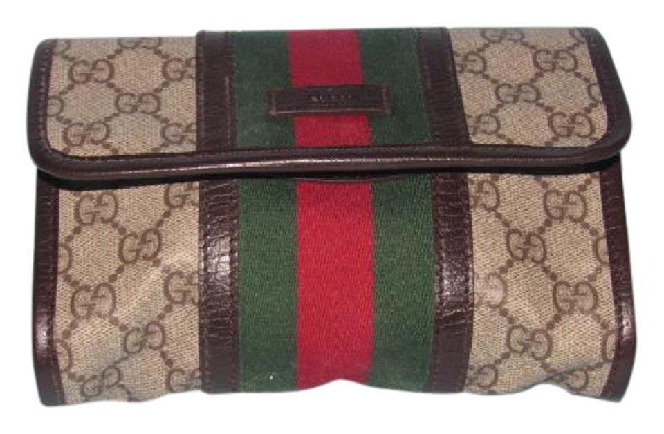96a03ecb7133 Gucci Brown Large G Logo Print Canvas and Brown Leather with A Wide ...