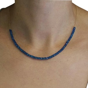 Adelaide Maria Apatite faceted beads in sterling siver chain, yellow gold plated