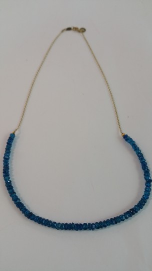 Adelaide Maria Apatite faceted beads in sterling siver chain, yellow gold plated Image 2