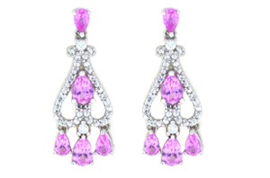 Other Pink & White Sapphire Pear Dangle Stud Earrings .925 Sterling Silver