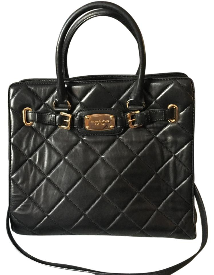 7bf39c9eb887 Michael Kors Hamilton Quilted Large Tote with Chain Strap Black ...