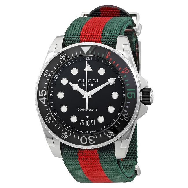 Item - Green/Red/Silver Dive Black Dial Men's Analog Suitable For Marine Activities Watch