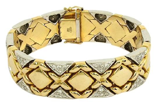 Preload https://img-static.tradesy.com/item/21745100/yellow-and-white-gold-175ct-diamonds-14k-two-tone-fancy-design-bracelet-0-1-540-540.jpg