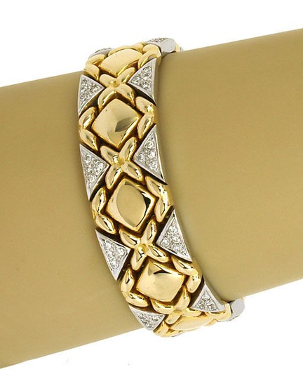 Other 1.75ct Diamonds & 14k Two Tone Gold Fancy Design Bracelet Image 1