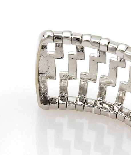 Other 18k White Gold 3ct Diamonds 24mm Wide Open Dome Cuff Band Bracelet Image 2