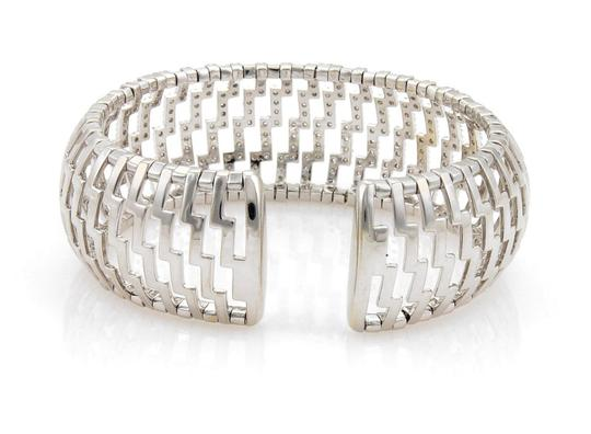 Other 18k White Gold 3ct Diamonds 24mm Wide Open Dome Cuff Band Bracelet Image 3