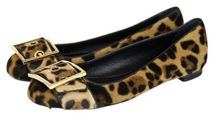 Gucci Leopard Pony Hair Ballet W/gold Buckle 39 9 Multi-Color Flats