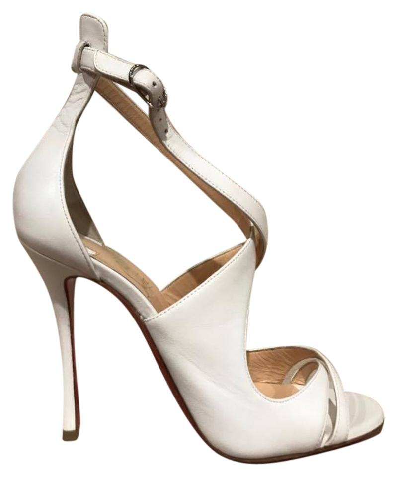 Christian Louboutin White Malefissima 100 Criss Pumps Cross Strap Heel 39.5 Pumps Criss 87c1be