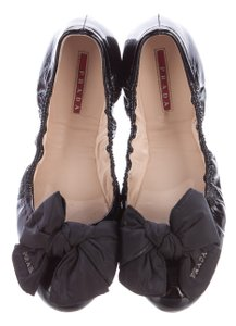 Prada Ballerina Patent Leather Bow Logo Silver Hardware Black, Silver Flats
