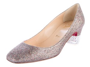 Christian Louboutin Glitter Crystal Square Toe Embellished Gold, Multicolor, Silver Pumps