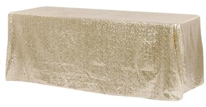 "Tablecloths Factory Champagne Gold Sequin (2) 156"" X 90"" and (1) 132"" X 90"" Tablecloth"