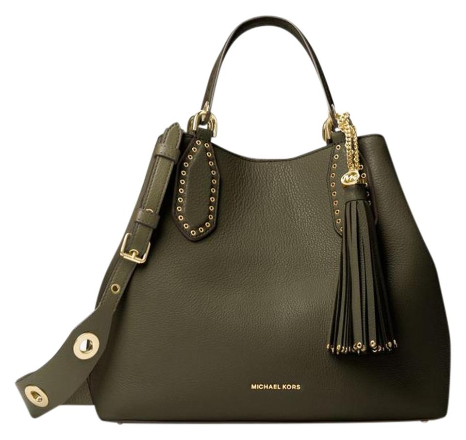 62371c5f6f30 Michael Kors Brooklyn Large Olive Leather Tote - Tradesy