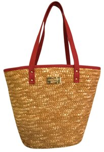 Laura Geller Straw Makeup Beach Tote in Red