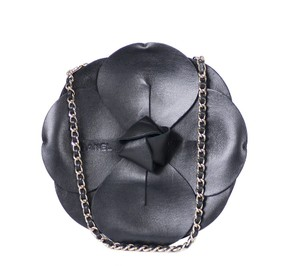 Chanel Camellia Party Chain Black Clutch