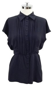 Sonia Rykiel Cape Silk Pleated Belt Tie Top Black