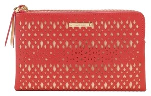 Stella & Dot Double Purse Evening Per Perforated Pattern Vegan Leather Geranium Clutch