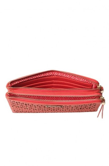 Stella & Dot & Double Evening Red Per Perforated Pattern Vegan Leather Geranium Clutch