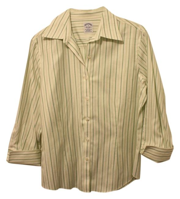 Brooks Brothers Cuffs Button Down Shirt Kelly Green and Mint pin stripes
