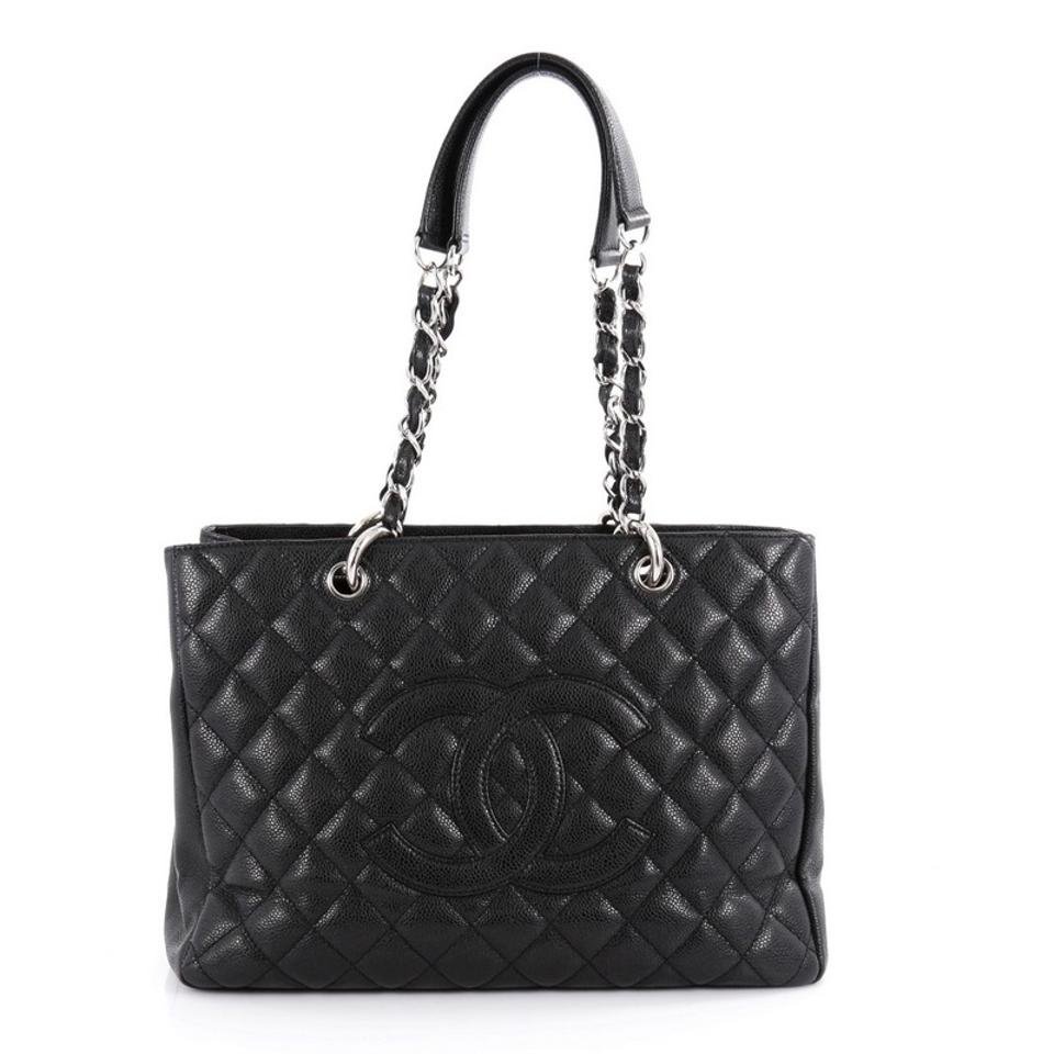 chanel shopping tote grand quilted black caviar tote tradesy. Black Bedroom Furniture Sets. Home Design Ideas