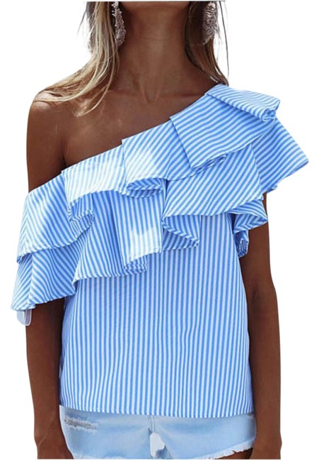 Preload https://img-static.tradesy.com/item/21746671/blue-and-white-off-shoulder-blouse-size-4-s-0-1-650-650.jpg