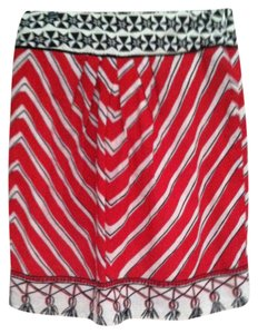 Anthropologie Skirt red, cream and black print