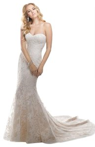 Maggie Sottero Ivory Lace Over Ivory Chesney with Bustle (Includes Cathedral Length Veil) Traditional Wedding Dress Size 4 (S)