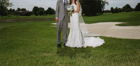 Maggie Sottero Ivory Lace Over Ivory Chesney with Bustle (Includes Cathedral Length Veil) Traditional Wedding Dress Size 4 (S) Image 3
