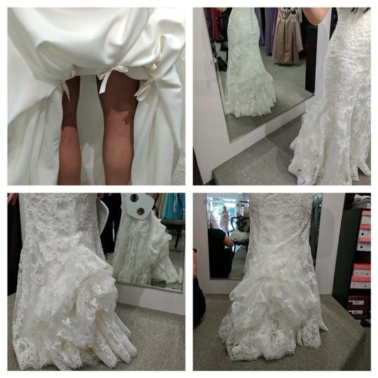 Maggie Sottero Ivory Lace Over Ivory Chesney with Bustle (Includes Cathedral Length Veil) Traditional Wedding Dress Size 4 (S) Image 9