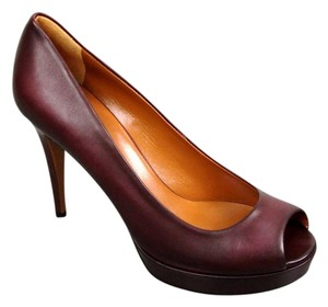 Gucci Betty Open-toe Platform Plum Pumps