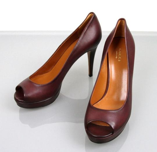 Gucci Betty Open-toe Platform Plum Pumps Image 1