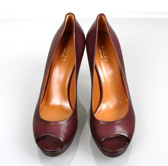 Gucci Betty Open-toe Platform Plum Pumps Image 2