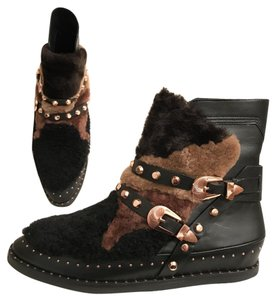 Ivy Kirzhner Leather Sheepskin Winter Comfortable Black Multi Boots