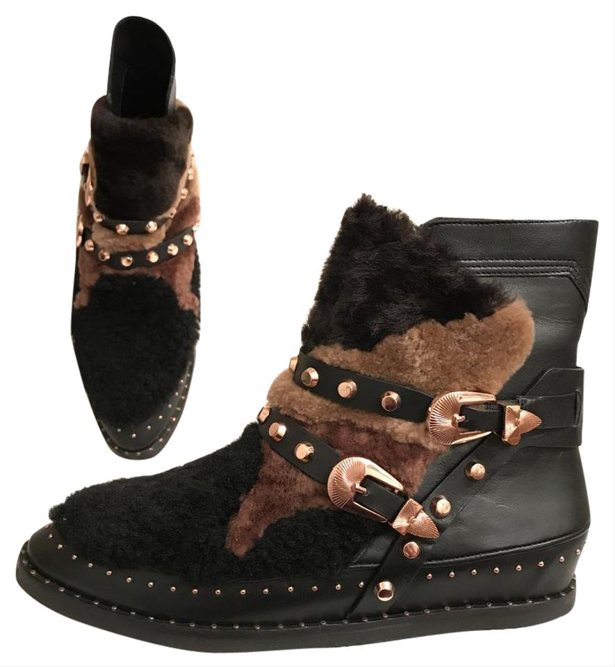 29a0a9149a98 Ivy Kirzhner Leather Sheepskin Winter Comfortable Black Multi Boots Image 0  ...