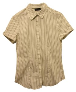 New York & Company Military Cuffed Sleeve Button Down Shirt green and country white