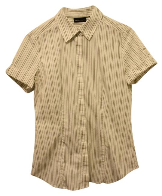 New York & Company Military Cuffed Sleeve Short Sleeves Pinstripe Dress Shirt Button Down Shirt green and country white
