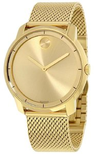Movado Movado Quartz Bold Gold Dial Gold Tone Mesh Authentic Men's Watch