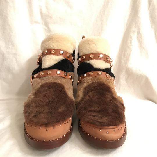 Ivy Kirzhner Leather Sheepskin Winter Comfortable Brown Multi Boots Image 1