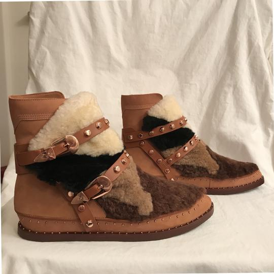 Ivy Kirzhner Leather Sheepskin Winter Comfortable Brown Multi Boots Image 3